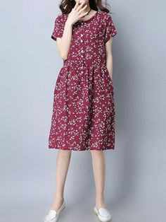Vintage Floral Print O-neck Short Sleeve Dress For Women