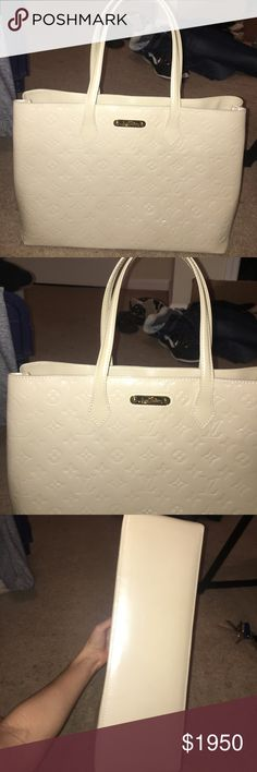 Louis Vuitton patent leather monogram bag Only used twice so in immaculate condition!!!! I don't currently have the box and bag until I go home to Texas for Christmas so I can't deliver with those until then. But it's a beautiful cream patent leather monogram shoulder bag that has a clasp to close it!!! I'm selling it because it doesn't really go with my style and I want to use the money to purchase a Brown LV Crossbody Id is more  lol Louis Vuitton Bags Shoulder Bags