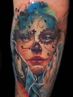 http://www.cuerpoyarte.com/3965/tatuajes-del-dia-de-los-muertos  Realism, fade, and detail.