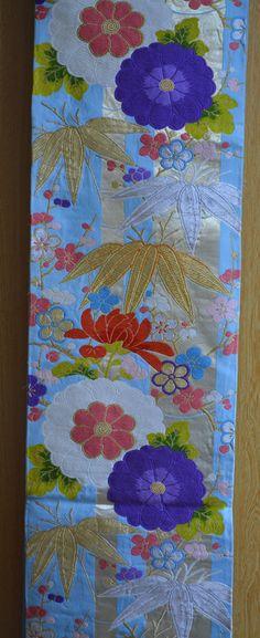 Sky blue  and gold silk fukuro obi, kimono sash, vintage Japanese obi sash