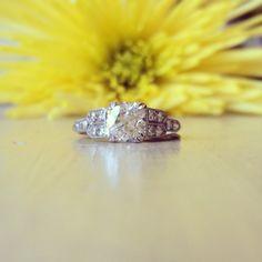 1.39ct Art Deco Platinum & Diamond Engagement Ring. Circa 1920.