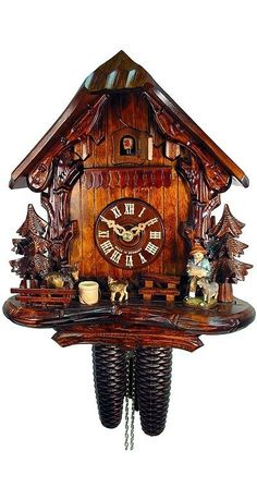German Cuckoo Clock 8Day, Black forest house with Goat herd by August and Schwer $549.99