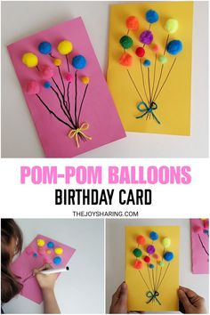 How To Make Pom-Pom Balloons Birthday Card? Simple DIY birthday card that preschooler and kindergartener can make. The post How To Make Pom-Pom Balloons Birthday Card? appeared first on Birthday. Cute Happy Birthday, Simple Birthday Cards, Homemade Birthday Cards, Happy Birthday Greeting Card, Kids Birthday Cards, Birthday Ideas, Preschool Birthday, Birthday Quotes, Free Birthday