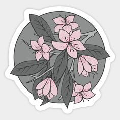Pink and Grey Sakura Branch Sticker by Olooriel on TeePublic - Stickers ❤️ Anime Stickers, Tumblr Stickers, Phone Stickers, Kawaii Stickers, Journal Stickers, Cool Stickers, Printable Stickers, Planner Stickers, Aesthetic Stickers