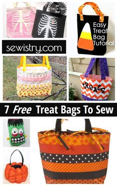 7 Free Treat Bags To Sew for Halloween-- Round up by Sewistry.com-- Your place for frugal sewing tips and projects