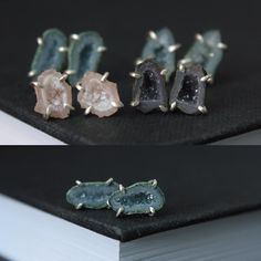 @torchfirestudio Four pairs of these teeny tiny geode studs are now in the shop. They are so cute!