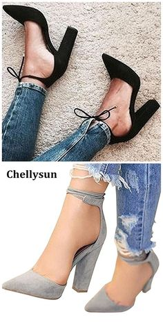 effdd65f553cd Comfortable black chunky heels sandals prom wedding closed toe strappy  chunky heels cute lace up pumps