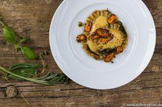 Ravioli mit Ricotta, Salbeibutter und Karotten