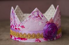 fabric Crown / Birthday Crown  Princess May by saflower on Etsy, $23.00