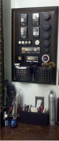 #Organising #Tips - Makeup Magnet Board | 22 tricks and tips for high storage, stylish but small bathrooms.