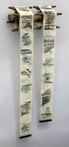 Marking Time by Kathy Miller --Mixed media x 11 x 4 inches) I like the idea of a roll of work that hangs away from the wall like this. Textile Fiber Art, Textile Artists, Paper Book, Paper Art, Paper Collages, Canvas Paper, Textiles, Buch Design, Handmade Books