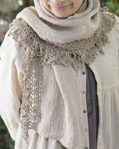 crochet edging linen scarf