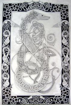 celtic dog 1 by knotty-inks on DeviantArt Norse Tattoo, Celtic Tattoos, Viking Designs, Celtic Designs, Viking Art, Viking Symbols, Celtic Dragon, Celtic Art, Dog Outline