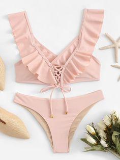 Shop Ruffle Lace-up Top With Ruched Bikini Set online. SHEIN offers Ruffle Lace-up Top With Ruched Bikini Set & more to fit your fashionable needs. Trendy Swimwear, Cute Swimsuits, Cute Bikinis, One Piece Swimwear, Bikini Swimwear, Ruffles, Ruffle Top, Bathing Suits Hot, High Cut Bikini