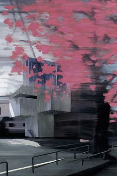Pink Blossom 2012 oil on wood 78 x 52 - Jan Ros Pink Blossom, Matte Painting, Abstract, Architecture, Rose, Drawings, Artwork, Styles, Inspiration