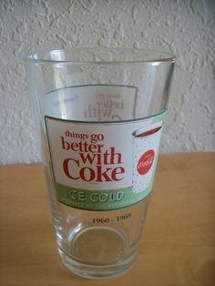 "Coca Cola ""Things Go Better with Coke"" Glass. Heavy glass, same picture on bot sides. Processing usually takes 1 to 2 days then allow business days for delivery. Coca Cola Decor, Coca Cola Ad, Pepsi, Coca Cola Glasses, Coke Drink, Coca Cola Kitchen, Energy Drinks, Coco, Mugs"