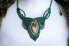 Organic design statement macrame necklace with by DaturaNatura