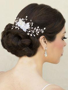 Jeweled Flower Bridal Comb ~ Romance - Bridal Hair Accessories, Wedding Headpieces, Bridal, Wedding, Hair Accessories, Headpieces, Combs, Clips, Hair Pins, Flowers, Headbands, Tiaras, Jewelry, Vintage, Beach - Hair Comes the Bride.