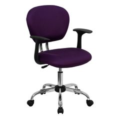 Mid-Back Purple Mesh Task Chair with Arms