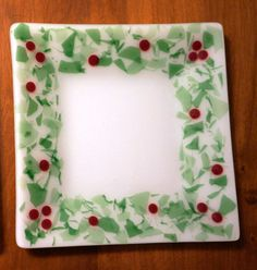 "Fused Glass Holly Plate--10"" square with green leaves & red berries"