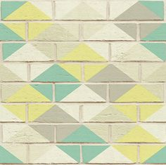 Harlequin Brick by Albany - Mint Pastel - Wallpaper : Wallpaper Direct Brick Wall Wallpaper, Kitchen Wallpaper, Wallpaper Decor, Albany Wallpaper, Brick Design, Tiles Texture, Pastel Wallpaper, Inspiration Wall, Cozy Blankets