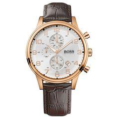 Relógio masculino Hugo Boss com pulseira em couro marrom. 1512519