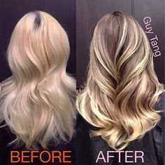 I like this transformation from bleach blonde to more natural highlights.