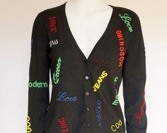 Moschino Jeans vintage cardigan sweater beads subtitles silk jacket cardigan…