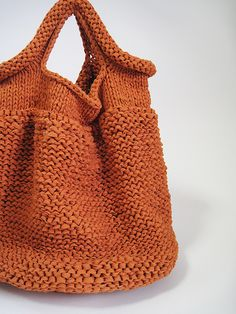 HAND KNIT BAG/ORANGE - no pattern, but very easy to knit!