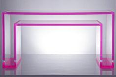 End-coloured acrylic table