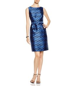 Anne Klein Sleeveless Chevron Jacquard Belted Dress