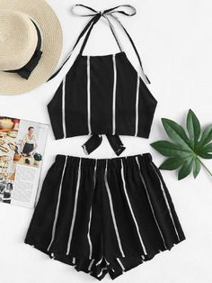 Knot Back Striped Halter Top With ShortsFor Women-romwe Cute Casual Outfits, Cute Summer Outfits, Short Outfits, Pretty Outfits, Stylish Outfits, Summer Shorts, Teenager Outfits, Outfits For Teens, Mode Outfits
