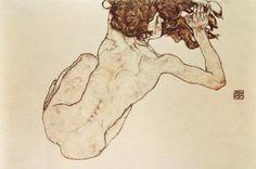 Egon Schiele, Nu de dos accroupi, 1890-1918 peintre, dessinateur autrichien, au trait net, marqué, énergique et sûr, parfois violent. Sa connaissance du corps humain allant jusqu'à représenter le volume. Les poses insolites, voire caricaturales, tendent à rapprocher Schiele de l'expressionnisme allemand, mais il ne recherche pas la stridence des couleurs, au contraire. Il occupe une place essentielle dans les relations entre art et érotisme. Son oeuvre présente une part allégorique.