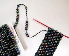 I& been doing a lot of bead crochet lately while developing some class ideas for this summer and realized that I haven& done any bead kni. Seed Bead Jewelry, Beaded Jewelry, Handmade Jewelry, Beaded Bracelets, Knitted Necklace, Knit Bracelet, Beaded Purses, Beaded Bags, Beaded Necklace Patterns