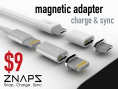 ZNAPS is a specially designed magnetic connection adapter for your mobile devices. Connection is just a snap away.