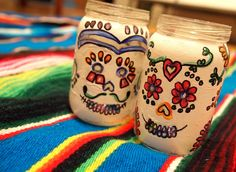 Day of the Dead candle holders out of baby food jars
