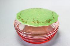 Vintage Pink Glass Powder Jar with Lid, Art Deco Vintage Vanity, Vintage Pink, Art Deco Fashion, Powder, Jar, Glass, Handmade, Hand Made, Face Powder
