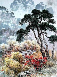 (North Korea) Landscape by Kim Seung-hi (1939-  )