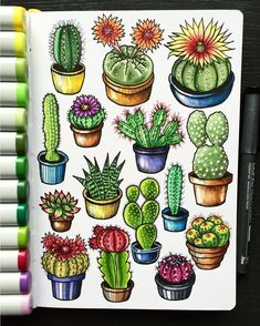 So many #cacti! A cute, prickling, little garden growing up out of the #Leuchtturm1917 sketchbook of @alexkipnis!  #cactus #lifeiscolour