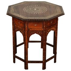 Anglo-Indian Folding Rosewood Inlaid Octagonal Side Table