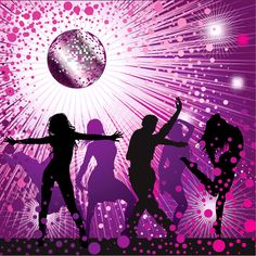 purple disco silhouettes | JPG preview, keywords: vector character, silhouette, female, disco ...