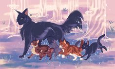 I hope hollyleaf spends lots of time with her baby siblings in starclan Warrior Cats Series, Warrior Cats Books, Warrior Cats Fan Art, Warriors Erin Hunter, Cat Oc, Warrior Cat Drawings, Cat Character, Cute Animal Drawings, Cat Design