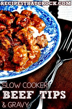 Slow Cooker Beef Tips and Gravy #SlowCooker #CrockPot #ComfortFood #RecipesThatCrock