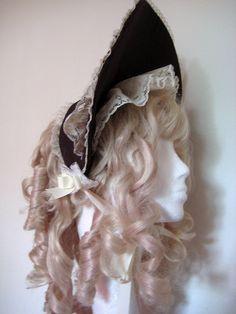 Gothic Lolita Bonnet Dark Chocolate and Cream by EnglishCharm, $35.00