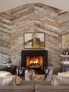 herringbone reclaimed wood wall.