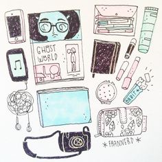 """@frannerd's photo: """"Why take a picture if I can just draw it? What's in my bag! ✌️"""""""