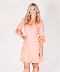 Look what I found on #zulily! Papaya Lace Three-Quarter Sleeve Dress - Women by Jelly the Pug #zulilyfinds