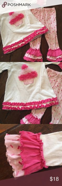 Ice cream boutique outfit 🍧 This sweet outfit has been worn, but is in great condition.  My daughter loved it.  It is a 3/4 length shirt and Capri outfit.  So sweet! I wanted to hoard it! Check my closet for other items the same size and bundle up.  I do have other seasonal and boutique ruffle outfits! Starting Out Matching Sets