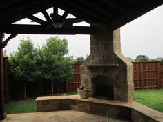 Patio Cover and Stone Works http://www.TexasBestFence.com #PatioCover #StoneWorks