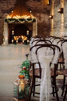 Healey Barn Lace Chair Covers Cosy Candlelit Woodland Barn Wedding Ideas http://www.chrisrandlephotography.co.uk/